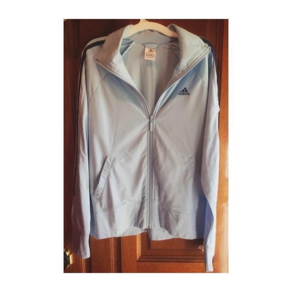 adidas Jackets & Blazers - EUC LIGHT BLUE ADIDAS TRACK JACKET SIZE MEDIUM